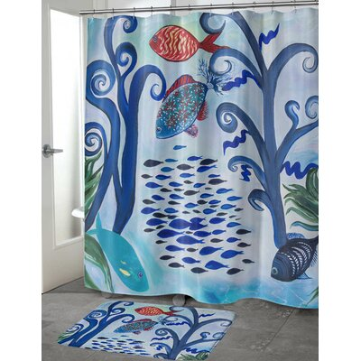 Burkart Fancy Fish Reef Shower Curtain Size: 70 H x 90 W