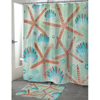 Burkeville Sand Shells Shower Curtain Size: 70 H x 90 W