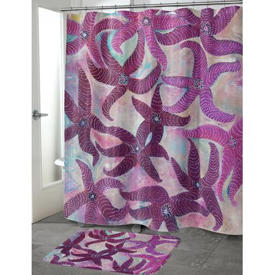 Burkey Starfish Dance Shower Curtain Size: 70 H x 72 W