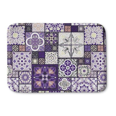 Chrisman Tile Memory Foam Bath Rug Size: 17 W x 24 L, Color: Purple/Gold