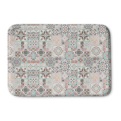 Chrisman Tiles with Rose Gold Memory Foam Bath Rug Size: 24 W x 36 L
