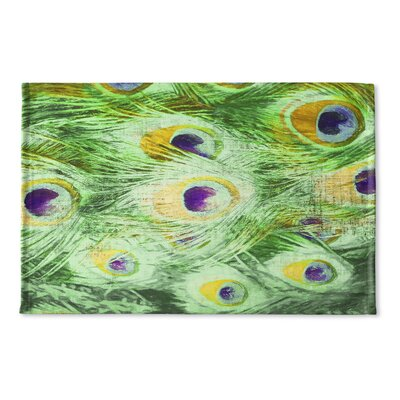 Dylan Feather Flat Weave Bath Rug Color: Green