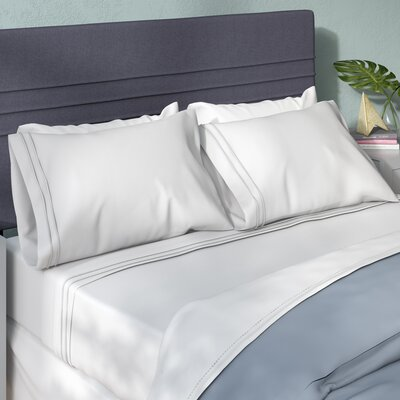 Patric 800 Thread Count Solid Pillowcase Size: King, Color: White / White