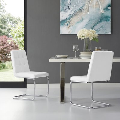 Biston Upholstered Dining Chair Upholstery: White