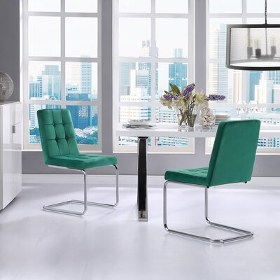 Boston Upholstered Dining Chair Upholstery: Hunter Green
