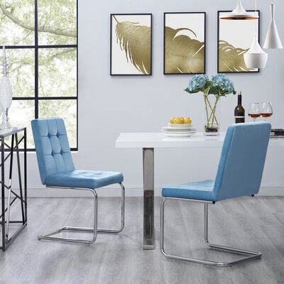 Biston Upholstered Dining Chair Upholstery: Slate Blue