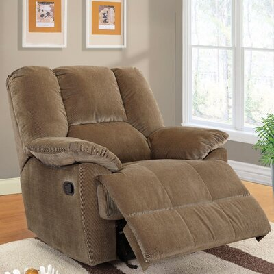 Taggart Manual Glider Recliner Upholstery Color: Brown