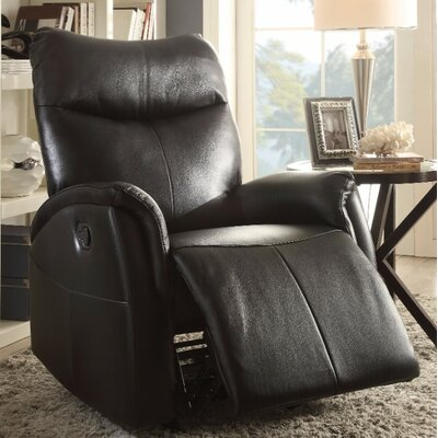 Woll Leather Manual Gilder Recliner Upholstery Color: Black