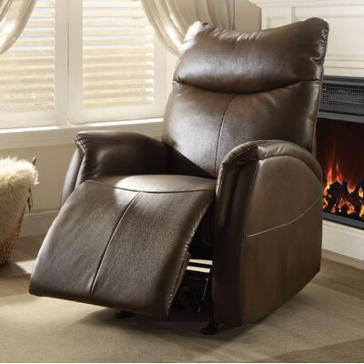Woll Leather Manual Gilder Recliner Upholstery Color: Brown