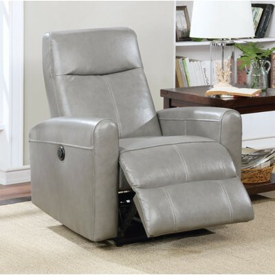 Wolverton Power Recliner Upholstery Color: Gray