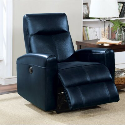 Wolverton Power Recliner Upholstery Color: Navy