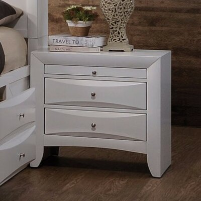 Zhu 2 Drawer Nightstand Color: White