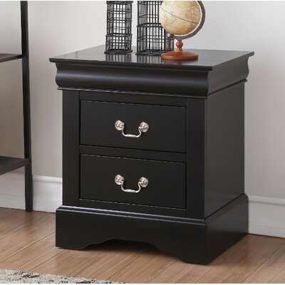Thorndike Traditional 2 Drawers Nightstand Color: Black