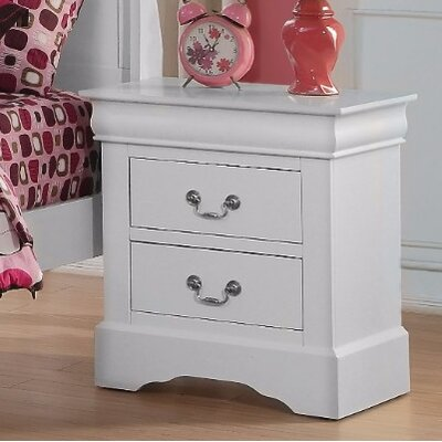 Thorndike Traditional 2 Drawers Nightstand Color: Gray