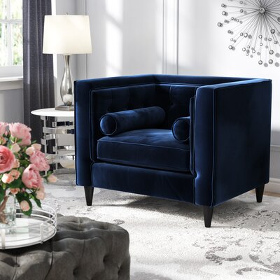 Roberta Velvet Club Chair Upholstery: Navy