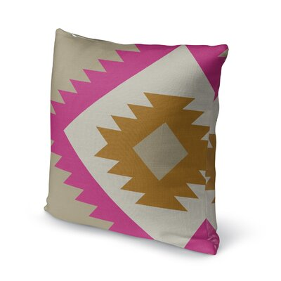 Lewallen Throw Pillow Size: 16 x 16, Color: Pink/Orange/Tan