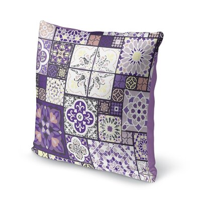 Chrisman Tile Throw Pillow Color: Purple/Gold/Gray/Pink, Size: 18 x 18