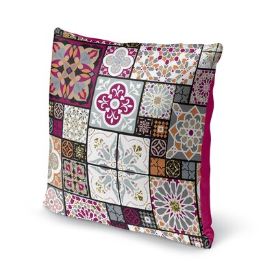 Chrisman Tile Throw Pillow Color: Red/Maroon/Gold/Gray/Pink, Size: 16 x 16