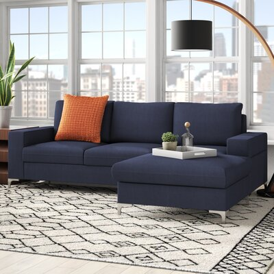 Gerst Sectional Upholstery Color: Dark Blue, Orientation: Right Facing