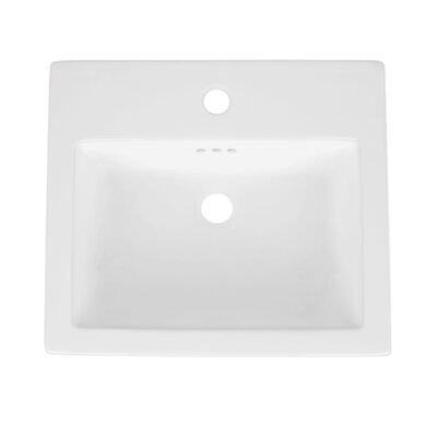 Cellar Ceramic Rectangular Drop-In Bathroom Sink with Overflow