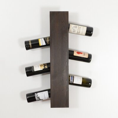 Benbrook 6 Bottle Wall Mounted Wine Rack Finish: Dark Brown