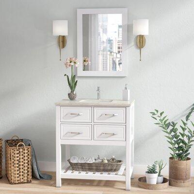 Edwin 33 Single Bathroom Vanity Set with Mirror Base Finish: White