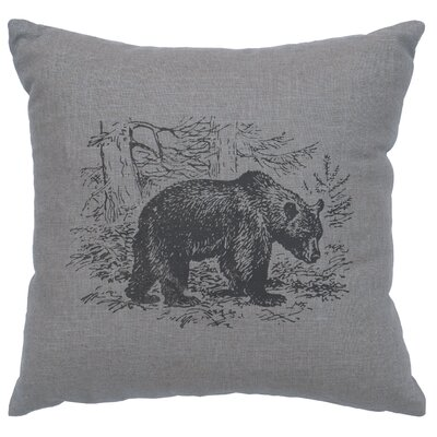 Nailwell Bear Scene Throw Pillow Color: Gray