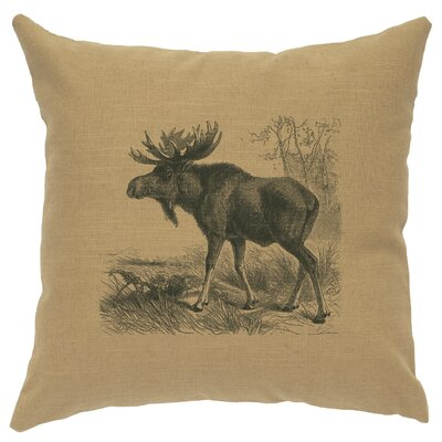 Nakagawa Moose Scene Throw Pillow Color: Straw