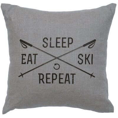 Banh Sleep Eat Ski Repeat Throw Pillow Color: Gray