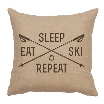Banh Sleep Eat Ski Repeat Throw Pillow Color: Natural
