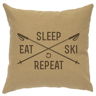 Banh Sleep Eat Ski Repeat Throw Pillow Color: Straw