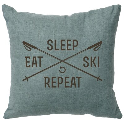Banh Sleep Eat Ski Repeat Throw Pillow Color: Ocean