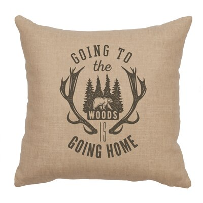 Neale Going to the Woods Throw Pillow Color: Natural