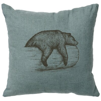 Nailwell Bear On A Log Throw Pillow Color: Ocean