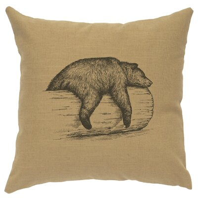 Nailwell Bear On A Log Throw Pillow Color: Straw