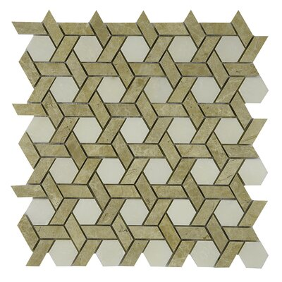 Woven Marble Tile in Cream/Tan
