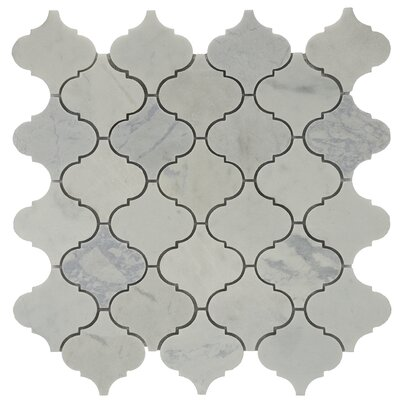 Shrine Fog Marble Tile in White/Grey