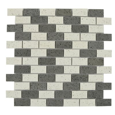 Mini Brick Engineered Stone Tile in Gray/White