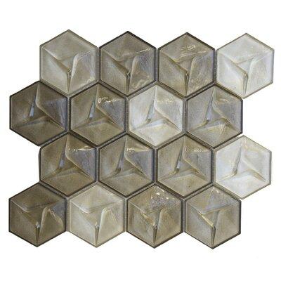 Metallica Geometric Glass Mosaic Tile in Champagne