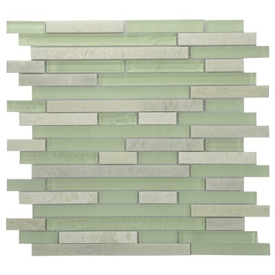Modern Sleek Mixed Tile in Green/White