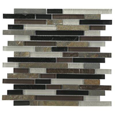 Modern Sleek Mixed Tile in Amber/Black/White