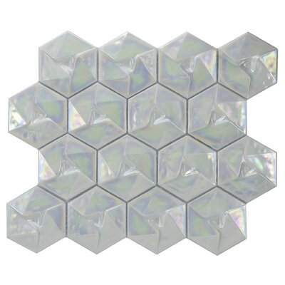 Metallica Geometric Glass Mosaic Tile in Xenon