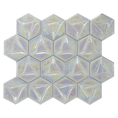 Metallica Geometric Glass Mosaic Tile in White/Blue
