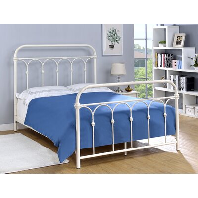 Letterly Metal Open-Frame Headboard Size: Twin, Color: Antique White