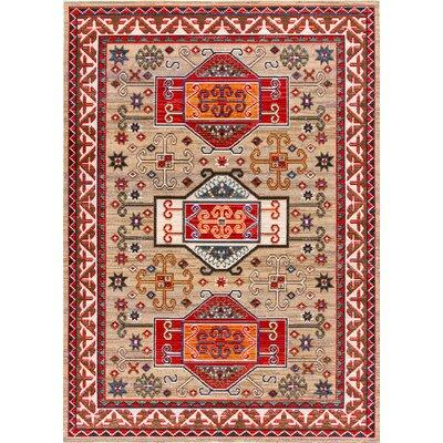 Duren Beige/Red Area Rug Rug Size: Rectangle 53 x 77
