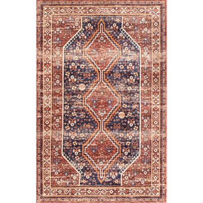 Charlcombe Rust Red/Dark Purple Area Rug Rug Size: Rectangle 5 x 8