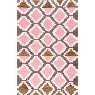 Charney Hand-Woven Cotton Brown/Pink Area Rug Rug Size: Rectangle 5 x 8