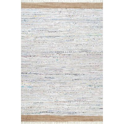 Linzy Flat Woven Cotton Gray Area Rug Rug Size: Rectangle 5 x 8