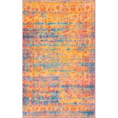 Durkee Yellow/Blue Area Rug Rug Size: Rectangle 5 x 8