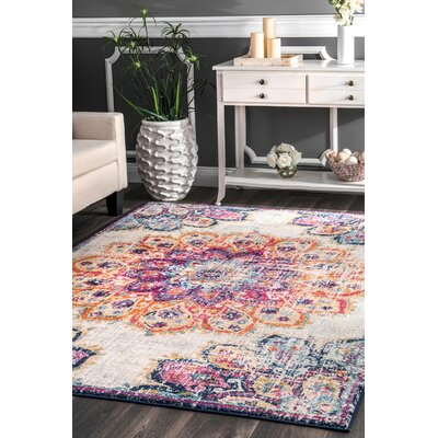 Caudle Red/Yellow Area Rug Rug Size: Rectangle 5 x 75